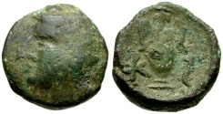 Ancient Coins - Corcyra.  Corcyra Under Roman Rule Æ18 / Dionysos and Amphora