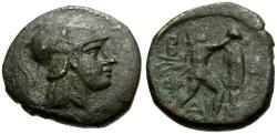 Ancient Coins - Kings of Macedon.  Antigonos Gonatas Æ21 / Pan Erecting Trophy