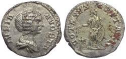 Ancient Coins - Julia Domna (AD 193-217) Fouree Muled Denarius / Septimius Sacrificing