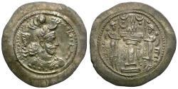 Ancient Coins - Sasanian Empire. Yazdgard I (AD 399-420) AR Drachm / Fire Altar