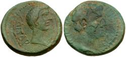 Ancient Coins - Augustus (27 BC-AD 14) with Tiberius. Macedon. Thessalonika Æ21 / Dual Portraits