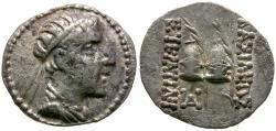 Ancient Coins - Kings of Baktria. Eukratides I AR Obol / Caps of the Dioscuri