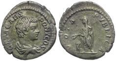 Ancient Coins - Geta (AD 198-209) AR Denarius / Geta Sacrificing