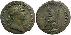 Ancient Coins - Trajan AR Denarius / Dacia in Mourning