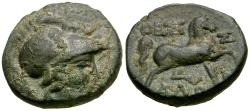 Ancient Coins - Thessaly. Thessalian League. Ippaitas, magistrate Æ16 / Horse