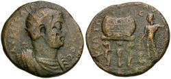 Ancient Coins - Valerian I (AD 253-260). Cilicia. Corycus Æ32 / Dionysus & Prize Urn