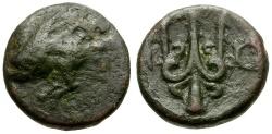 Ancient Coins - Corinthia.  Corinth Æ12 / Pegasus and Trident