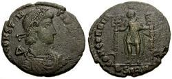 Ancient Coins - gF+/gF+ Constantius II Æ2 / Emperor with Standards