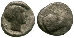 Ancient Coins - Caria.  Uncertain Mint AR Hemiobol / Ram's Head