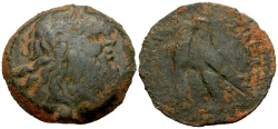 Ancient Coins - aVF/gF Ptolemaic Kings of Egypt, Ptolemy X Soter II Æ29 / Two Eagles