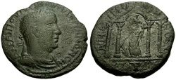 Ancient Coins - Valerian, Cilicia Anemurium Æ25 / Tyche in Temple