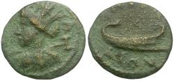 Ancient Coins - Ionia. Smyrna. Pseudo-Autonomous Issue Æ17 / Galley