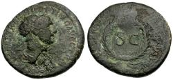 Ancient Coins - Trajan Æ Semis / Wreath