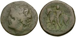 Ancient Coins - Sicily. Messana. The Mamertini Æ Pentonkion / Horseman leading Horse