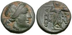 Ancient Coins - Thessaly. Thessalian League Æ18 / Athena