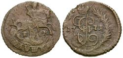 World Coins - Russia. Catherine II the Great (1762-1796) Copper Polushka