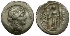 Ancient Coins - 42 BC - Roman Republic. P. Clodius M. f. Turrinus AR Denarius / Diana Lucifera