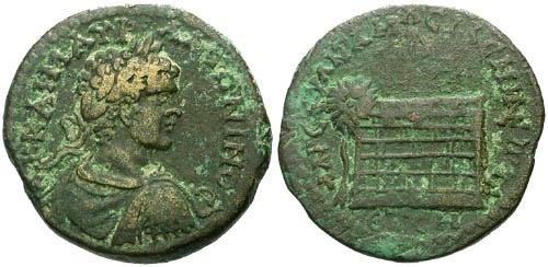 Ancient Coins - VF/VF Caracalla AE 29 Amasia in Pontus / Altar and Tree