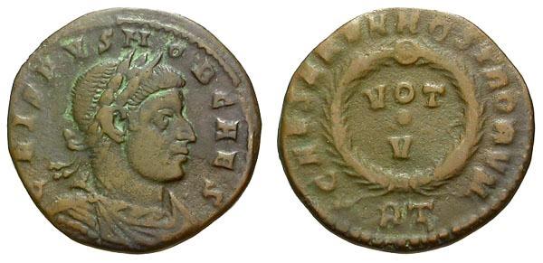 Ancient Coins - gF+/gF Crispus Caesar Æ3 / Votive Wreath