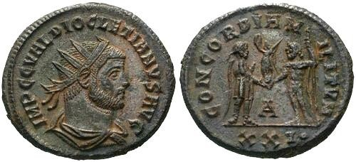 Ancient Coins - EF/EF Diocletian AE Follis / Mintmark Unlisted for Reverse in RIC