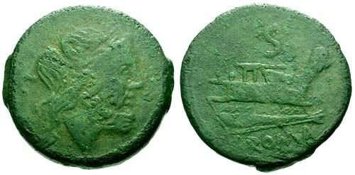 Ancient Coins - aVF/aVF 208 BC Roman Republic AE Semis / Goodman