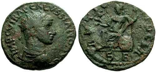 Ancient Coins - VF/VF Volusian Provincial Bronze / Pisidia