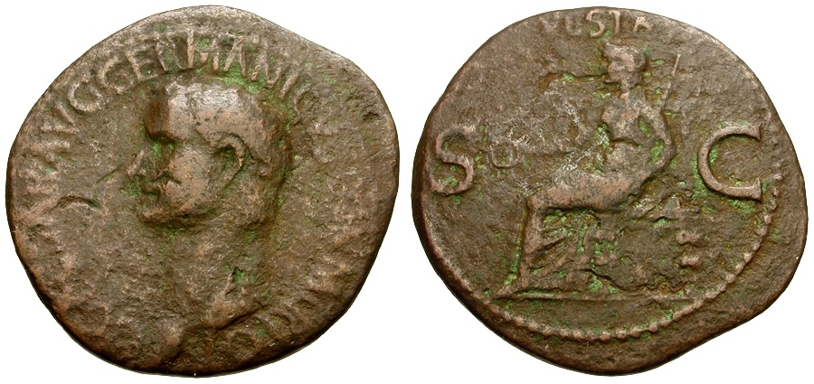 Ancient Coins - Caligula Æ AS / Vesta Seated