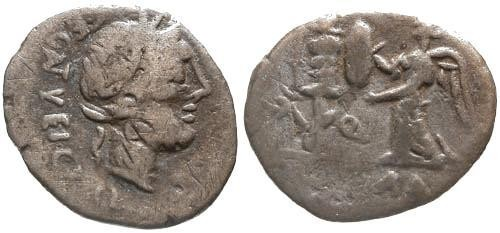 Ancient Coins - 97 BC / F/F Egnatuleia 1 Roman Republic Quinarius / Victory erecting Trophy