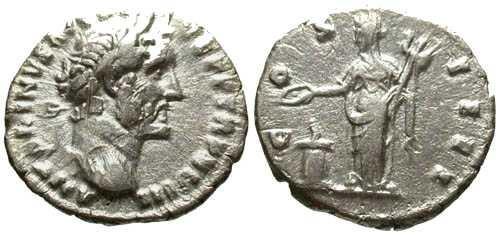 Ancient Coins - VF/aVF Antoninus Pius Denarius / Vesta