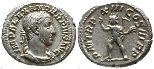 Ancient Coins - EF/VF Severus Alexander AR Denarius / Sol