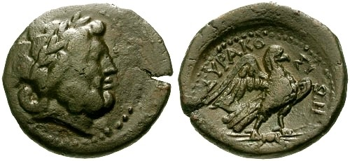 Ancient Coins - VF/aEF Sicily Syracuse AE21 / Zeus and Eagle