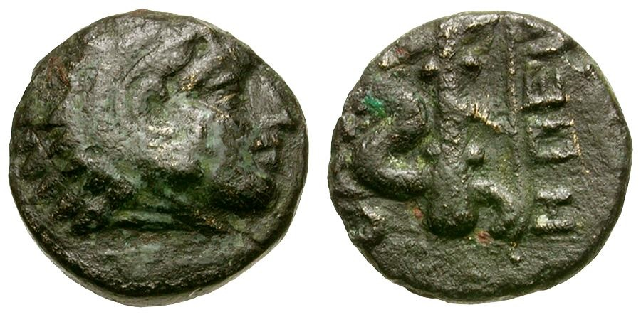 Ancient Coins - Macedon. Philippoi as Krenides. Mainland Colony of Thasos Æ10 / Club and Bow