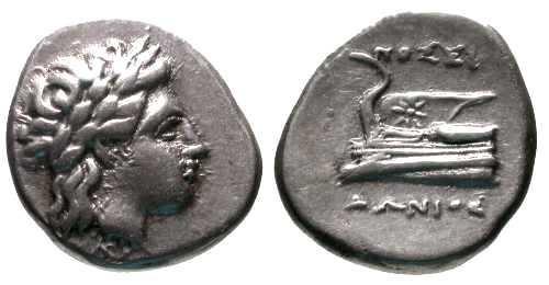 Ancient Coins - VF Bithynia Kios AR Hemidrachm / Prow