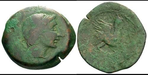 Ancient Coins - F+/aF Celtic Iberian AE34 of Castulo Spain / Nice green patina