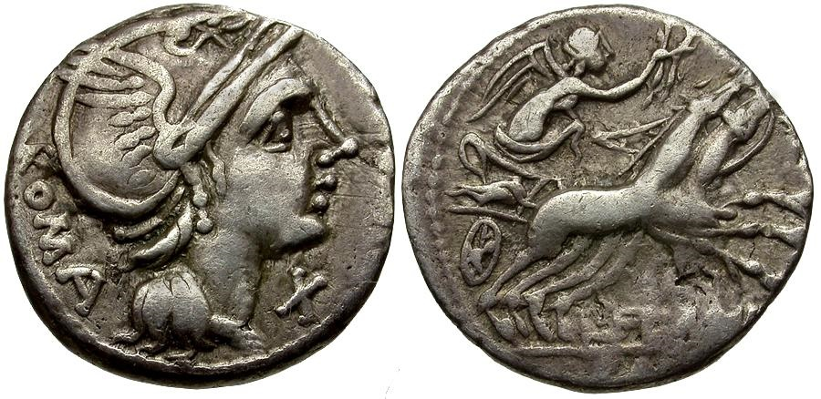 Ancient Coins - 109-108 BC - Roman Republic.  L. Flaminius Chilo AR Denarius / Victory Driving Biga