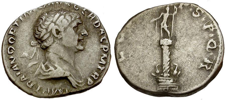 Ancient Coins - Trajan AR Denarius / Trajan's Column