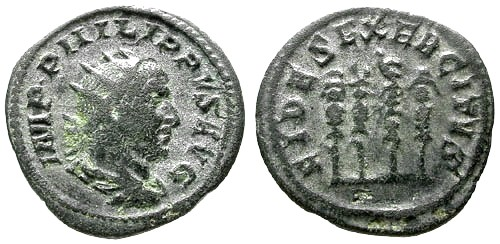 Ancient Coins - F+/F+ Philip I AR Antoninianus / Four standards