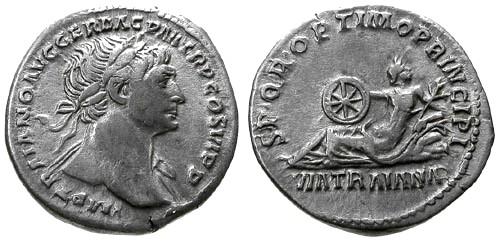 Ancient Coins - VF/VF Trajan AR Denarius / Via Traiana