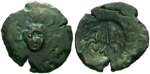 Ancient Coins - VF/VF Rare Olbian Counterstamped Bronze / Helios and Horses