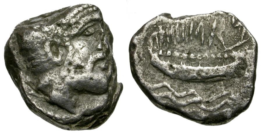 Ancient Coins - Phoenicia. Arados. Gerashtart (Gerostratos) AR Stater / Galley