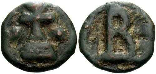 Ancient Coins - aVF/VF Basil I Cast AE17 Cherson Mint / Cross Potent
