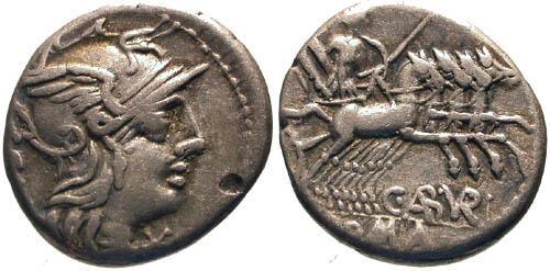 Ancient Coins - 134 BC / aVF/aVF Aburia 1 Roman Republic Denarius / Roma