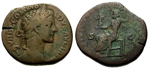 Ancient Coins - F/F Commodus AE Sestertius / Hard to find Clean Shaven Bust