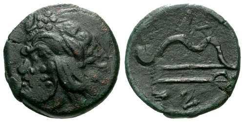 Ancient Coins - VF/gF Pantikapaion AE / Pan Double struck