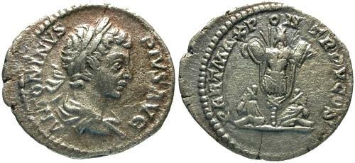 Ancient Coins - aVF/aVF Caracalla Denarius / Trophy with Two Captives