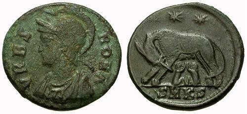 Ancient Coins - gF+/aVF VRBS ROMA Æ3 Commemorative / Wolf and Twins