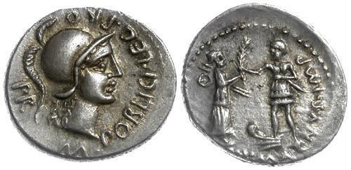 Ancient Coins - 46-45 BC EF/EF Poblicia 10 Roman Republic AR Denarius Cnaeus Pompey, Jr.