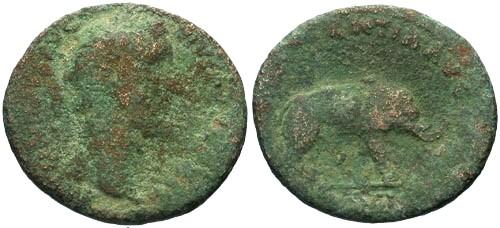 Ancient Coins - VG/VG Antoninus Pius AS / Elephant