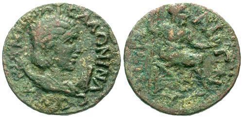 Ancient Coins - aVF/F Salonina AE30 Pamphylia Perga / Zeus