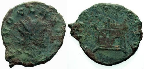 Ancient Coins - F/F Claudius II Gothicus AE Radiate / Altar